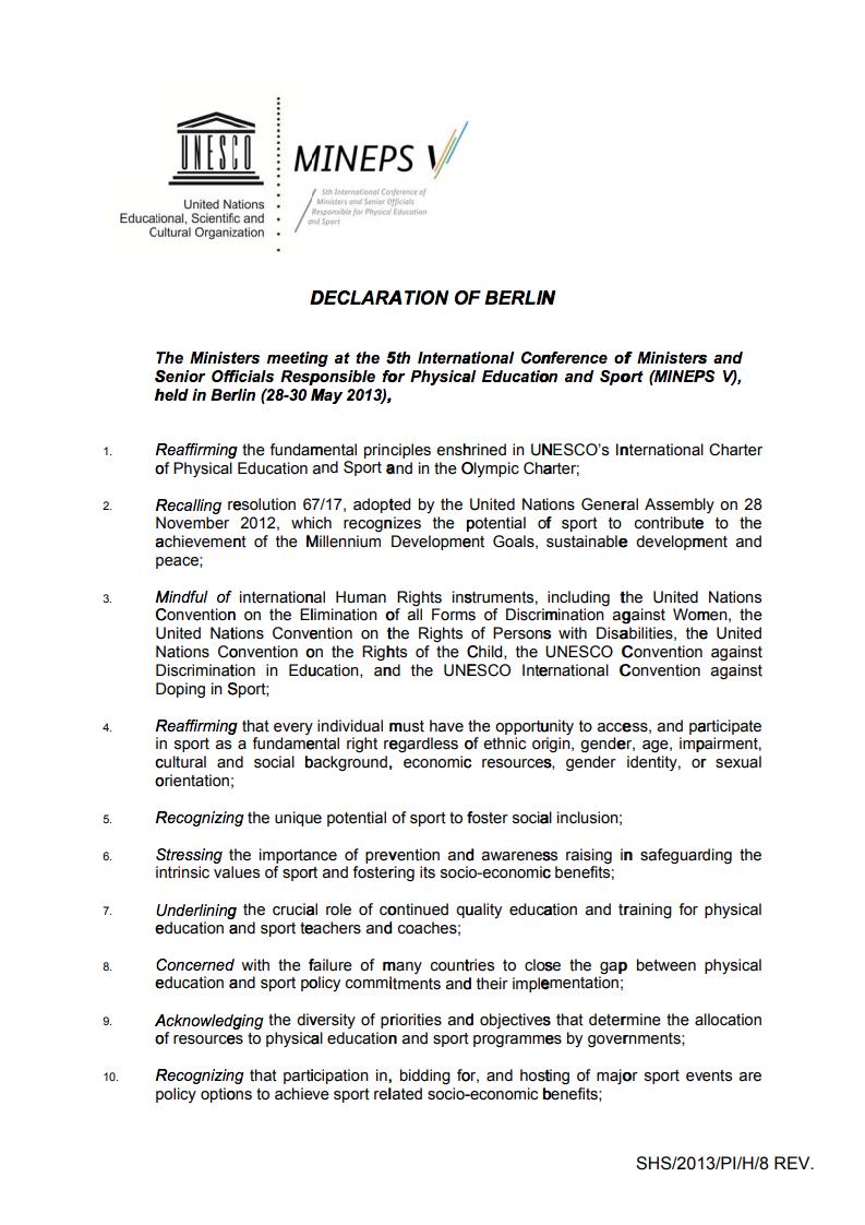 sports physical form tn  Declaration of Berlin - UNESCO Digital Library